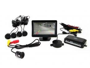 """Parkovací senzory černé - 4 senzory TFT 4,3"""" s kamerou pro noční vidění"""