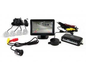 """Parkovací senzory stříbrné - 4 senzory TFT 4,3"""" s kamerou pro noční vidění"""