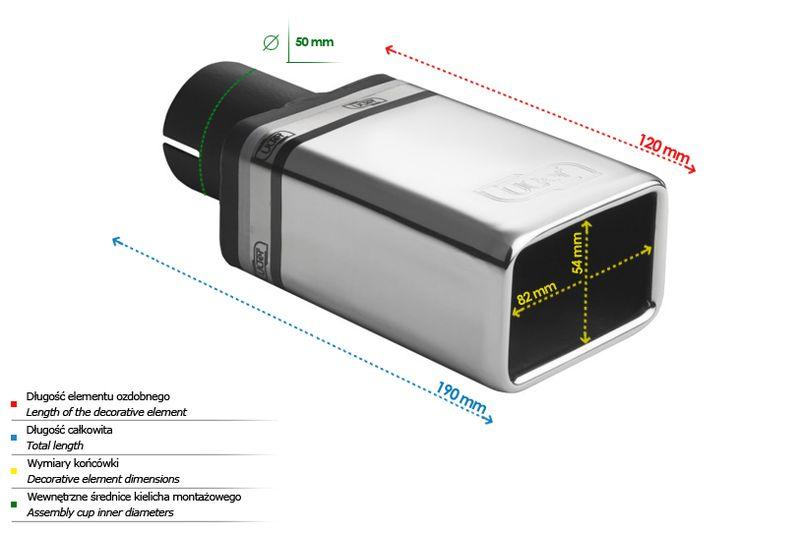 ULTER SPORT Koncovka výfuku 1x 82x54 mm N1-44* /50 mm průměr vstupu