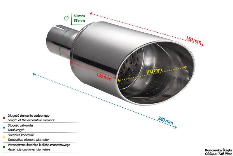 ULTER SPORT Koncovka výfuku 1x100 mm N1-60 /55 mm průměr vstupu