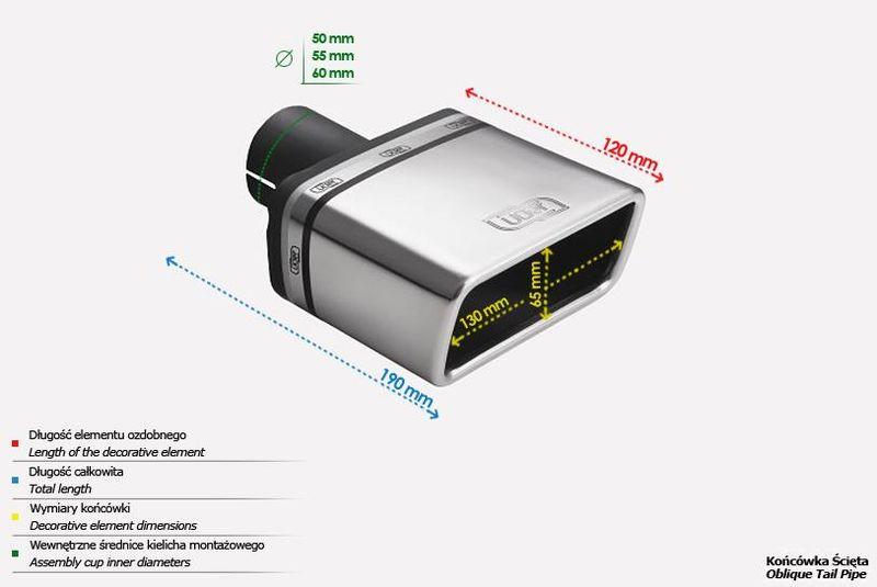 ULTER SPORT Koncovka výfuku 1x130x65 mm N1-47* /50 mm průměr vstupu
