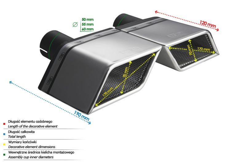 ULTER SPORT Koncovka výfuku 1x170x70 mm, levá N1-36L /50 mm průměr vstupu
