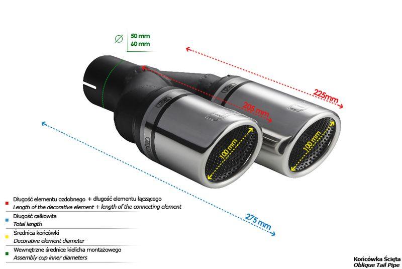 ULTER SPORT Koncovka výfuku 2x100 mm, levá N2-101RSL /50 mm průměr vstupu