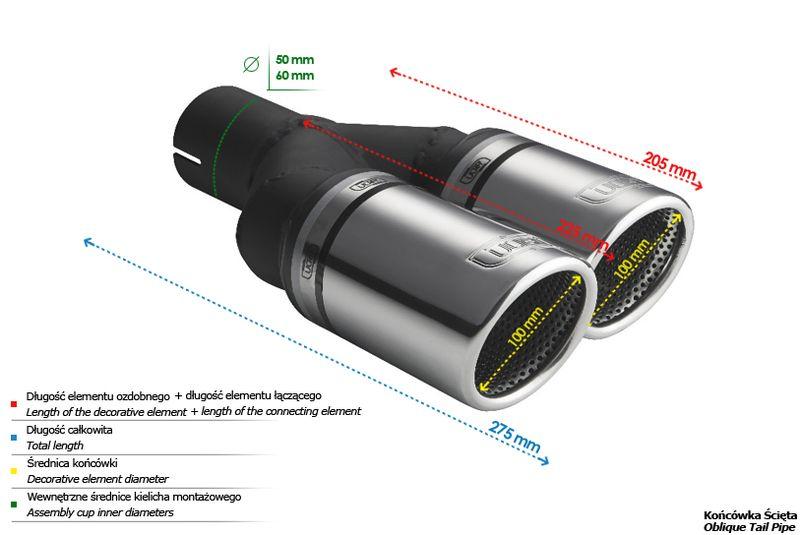 ULTER SPORT Koncovka výfuku 2x100 mm, pravá N2-101RSP /50 mm průměr vstupu