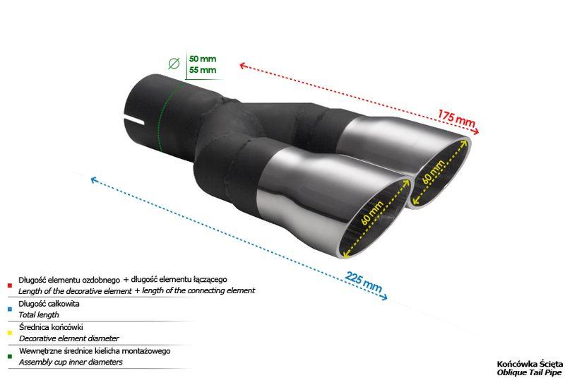 ULTER SPORT Koncovka výfuku 2x60 mm N2-53 /50 mm průměr vstupu