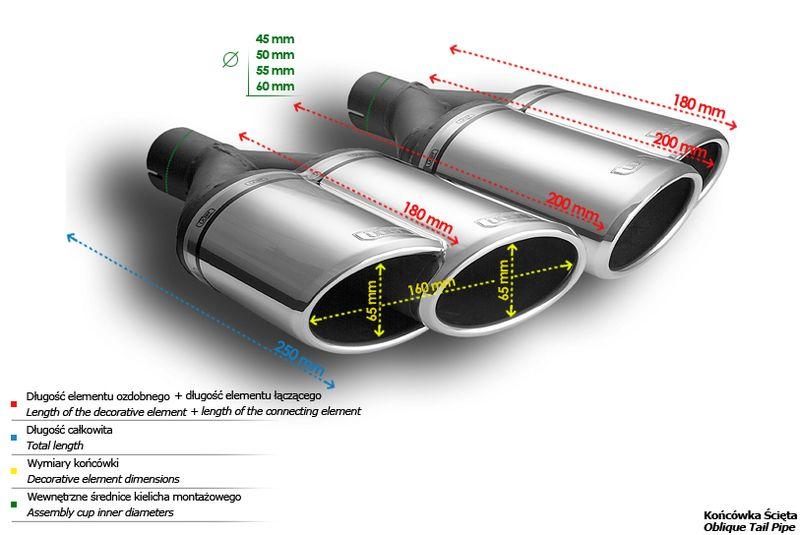 ULTER SPORT Koncovka výfuku 2x65 mm, levá N2-56L* /45 mm průměr vstupu