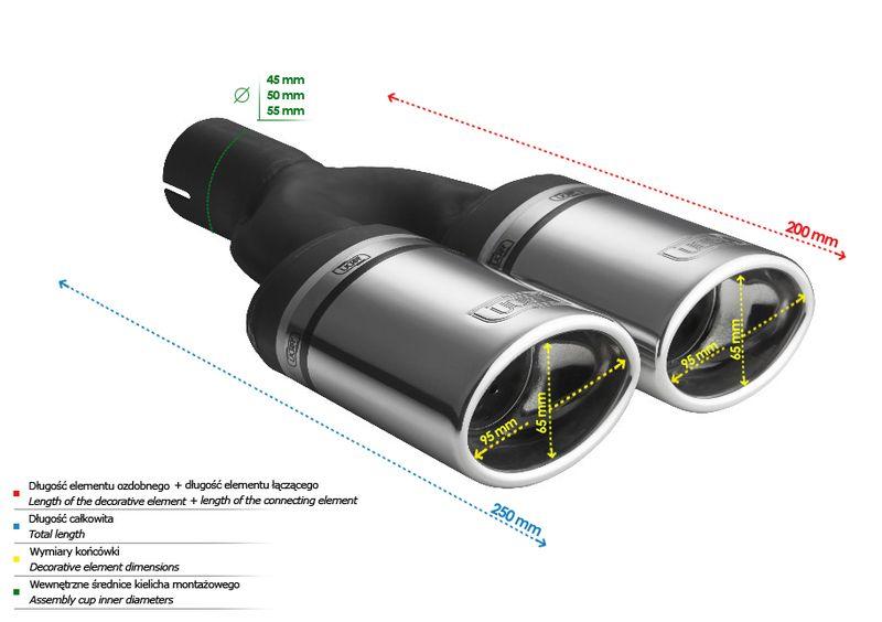 ULTER SPORT Koncovka výfuku 2x95x65 mm N2-10 /45 mm průměr vstupu