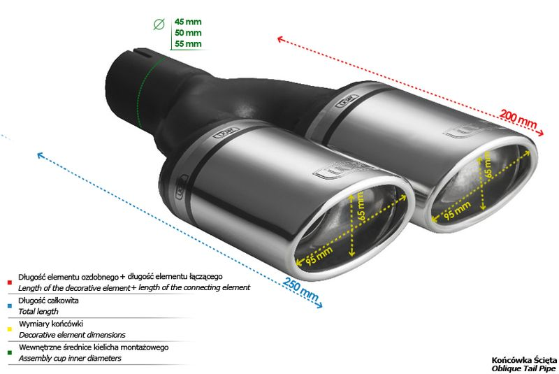 ULTER SPORT Koncovka výfuku 2x95x65 mm N2-10-1* /45 mm průměr vstupu
